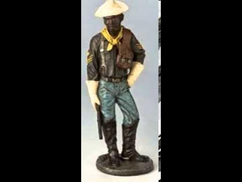 Buffalo Soldier Figurine-military-black Soldier-African American- Black Art-black Figurines
