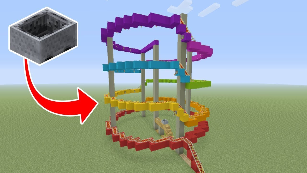 """Minecraft Tutorial: How To Make A Roller Coaster """"Theme Park"""""""