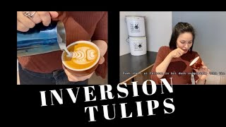 INVERSION TULIPS. HOW TO MAKE​ LATTEART, EASY STEPS
