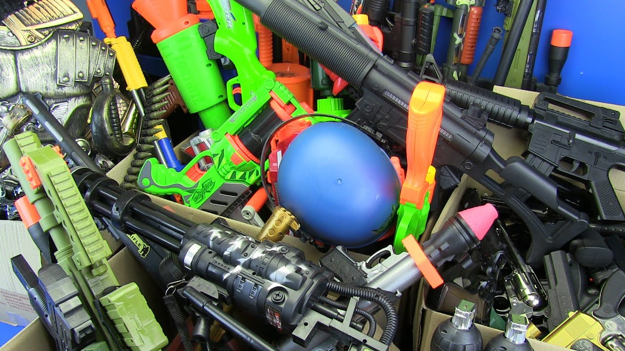 Box of Realistic Toy Guns !! Toy Guns Collection_ Airsoft,Nerf,Ninja Guns Toys