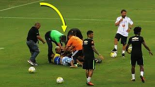 شاهد.. «حضن نيمار» يتسبب في اقتحام تدريبات المنتخب البرازيلي