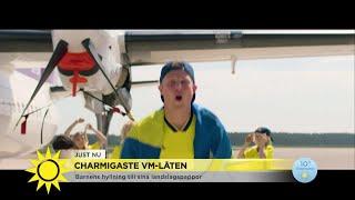 Barnen överraskade papporna i landslaget – med en VM-låt - Nyhetsmorgon (TV4)