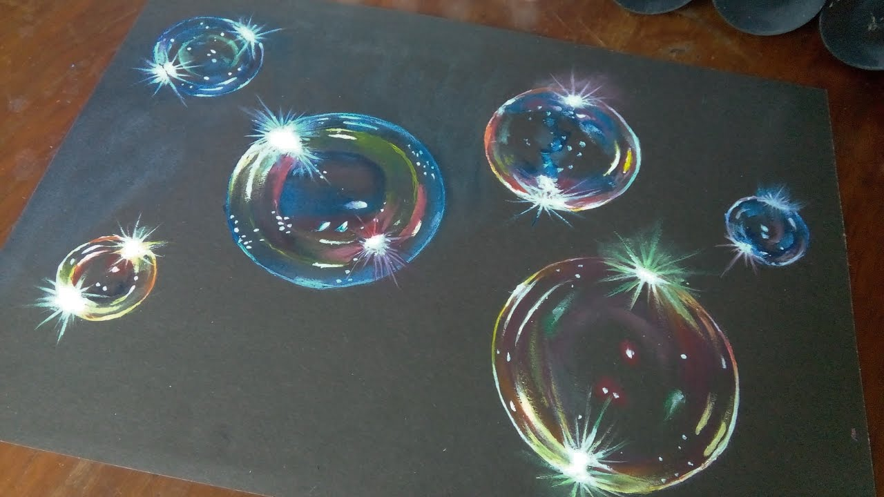 How to paint hyper realistic bubbles-acrylic painting timelapse