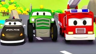 A Super Patrulha: caminhão de bombeiro & carro de polícia com o Trator na Cidade do Carro ??????