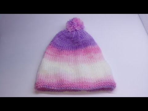 9050c9a61 طاقية اطفال تريكو للمبتدئين knitting baby hat for beginners
