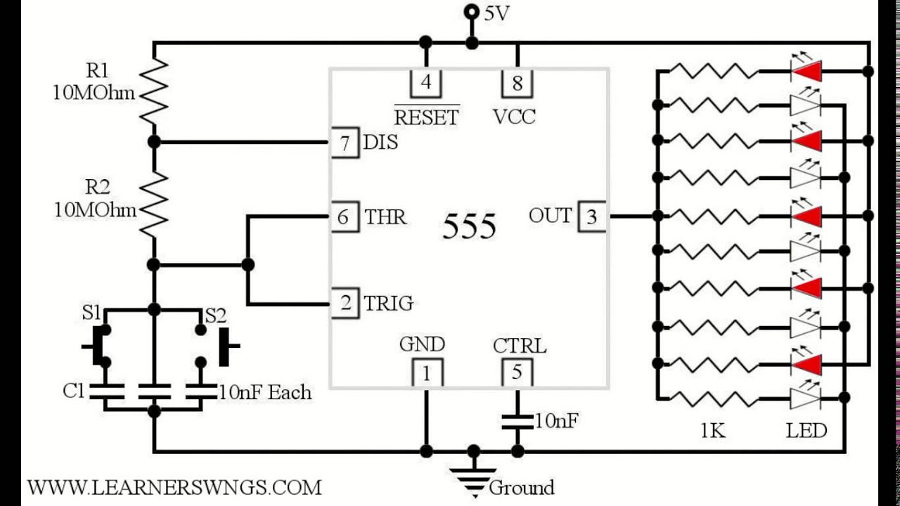 4017 led knight rider running light circuit diagram circuit wiring