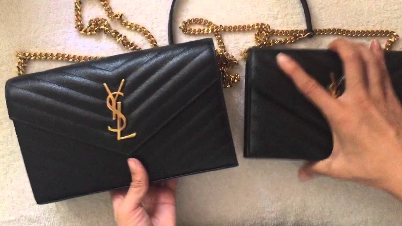 Comparison: Large vs Small YSL Saint Laurent Monogram WOC - YouTube