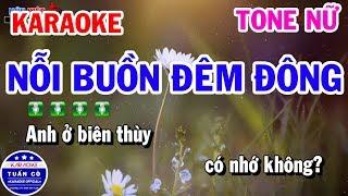 Karaoke Nỗi Buồn Đêm Đông Tone Nữ A#m | Nhạc Sống Tuấn Cò