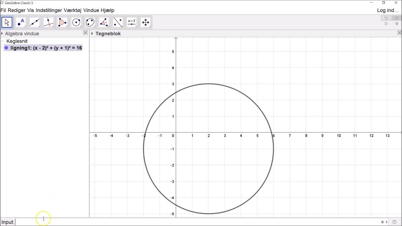 Skæring mellem cirkel og linje