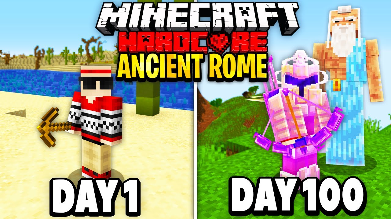I Survived 100 Days of Hardcore Minecraft in Ancient Rome.. Here's What Happened..