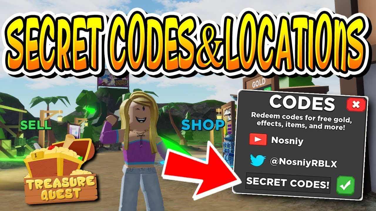 Secret Codes And Locations In Treasure Quest Roblox Youtube