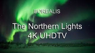 Aurora Borealis. The Northern Lights in 4K, UHDTV Ultra High Definition.