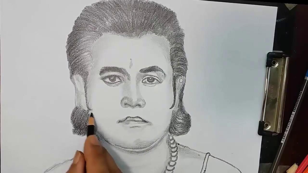 How to draw sree ramramayan actor arun govil step by step