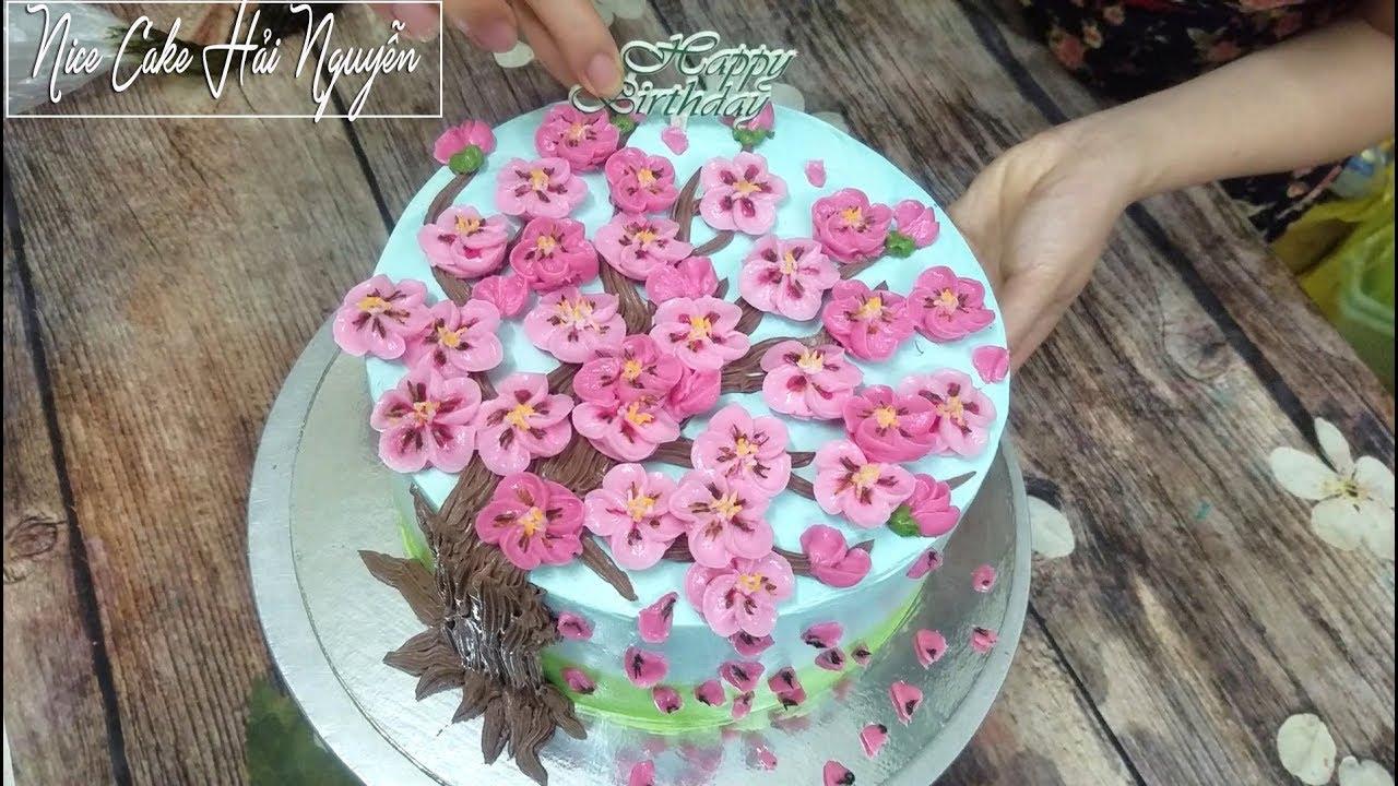 Trang Trí Bánh Sinh Nhật Đẹp Với Hoa Đào Sắc Thắm – Decorate Lovely Cake with Cherry flowers