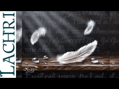 Speed Painting feathers and water droplets in acrylic - Time Lapse Demo by Lachri