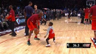 NBA MOMENTS - Kobe Bryant plays Zaire Wade and Chris Paul Jr. @ 2016 All-Star Game