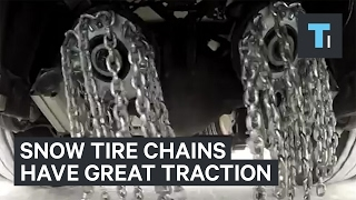 Automatic snow tires throw chains at your wheels