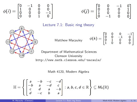 Visual Group Theory, Lecture 7.1: Basic ring theory