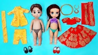 Princess Dolls Indian Wedding Dress Up For Ariel Bride & Groom | DIY for Kids
