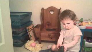 Playing on the potty chair
