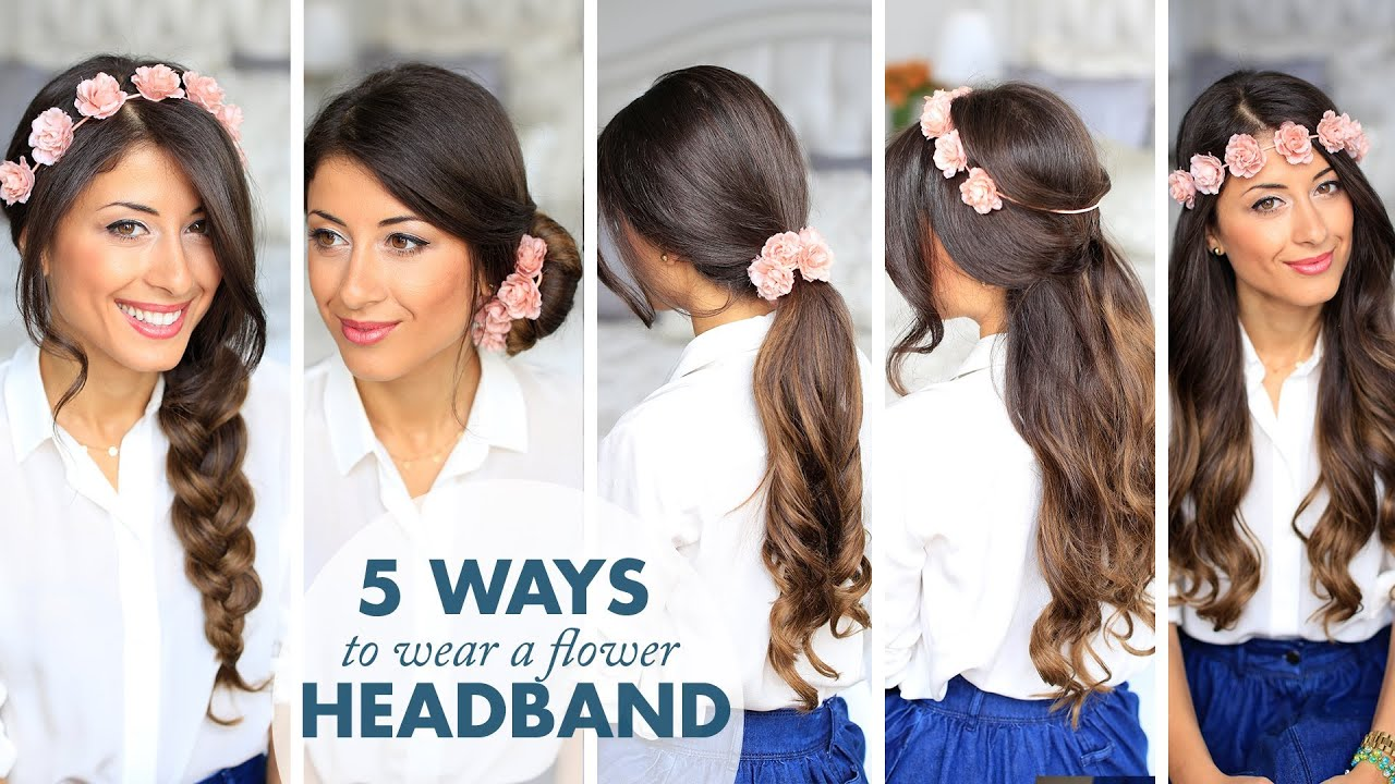 how to wear hair style 5 ways to wear a flower headband 4760 | maxresdefault