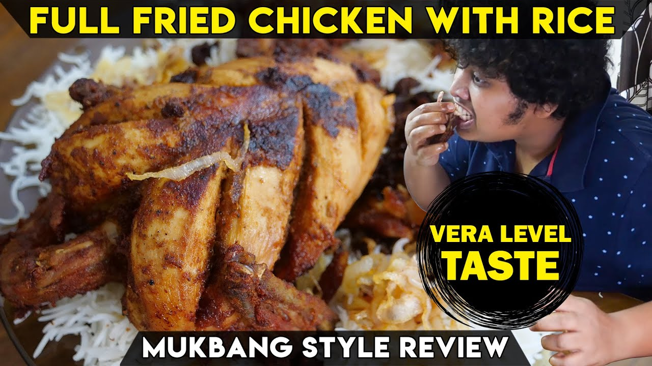 Full Fried Chicken With Basmati Rice - ASMR - Mukbang  Style Review
