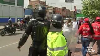 Estos fueron los primeros desordenes durante la marcha estudiantil en Bogotá