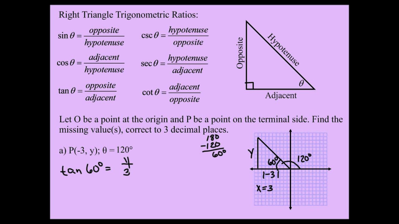 Right Triangle Trigonometry: Finding The Missing Coordinates