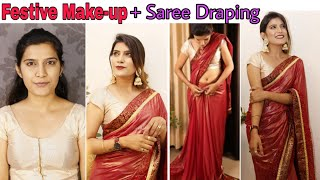 Indian Festive Makeup + How to Drape Saree | KarwaChauth Makeup | Super Style Tips