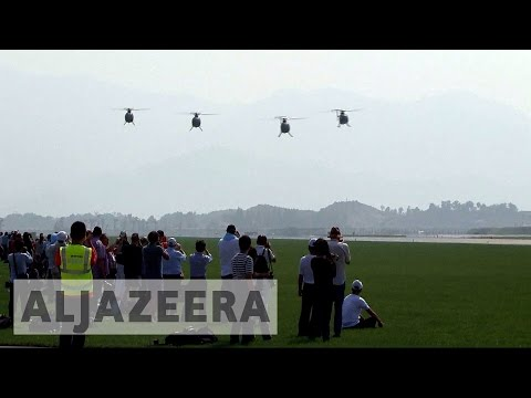 North Korea displays military might during air show