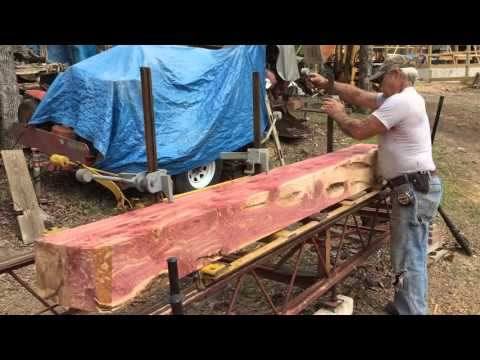 Cedar Log Being Milled on a Foley-Belsaw A-14 Circular Sawmill 2