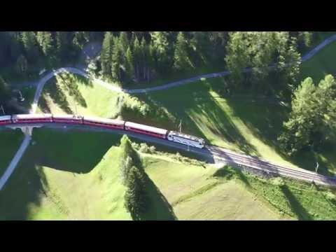 Aerial recording of the Rhaetian Railway (RhB) travelling from Preda to Bergün