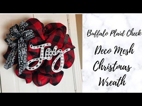 Buffalo Plaid Check Christmas Wreath DIY