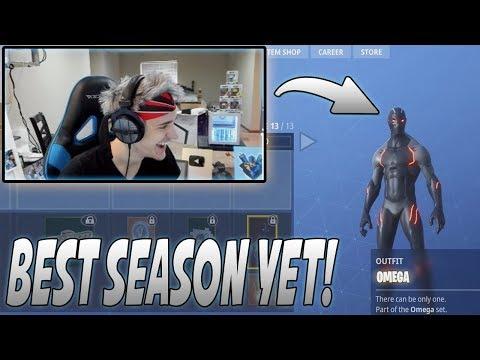 Ninja Reacts To The New Season 4 Battle Pass! (New Super Hero Skins/Sprays/Emotes/Dances!)
