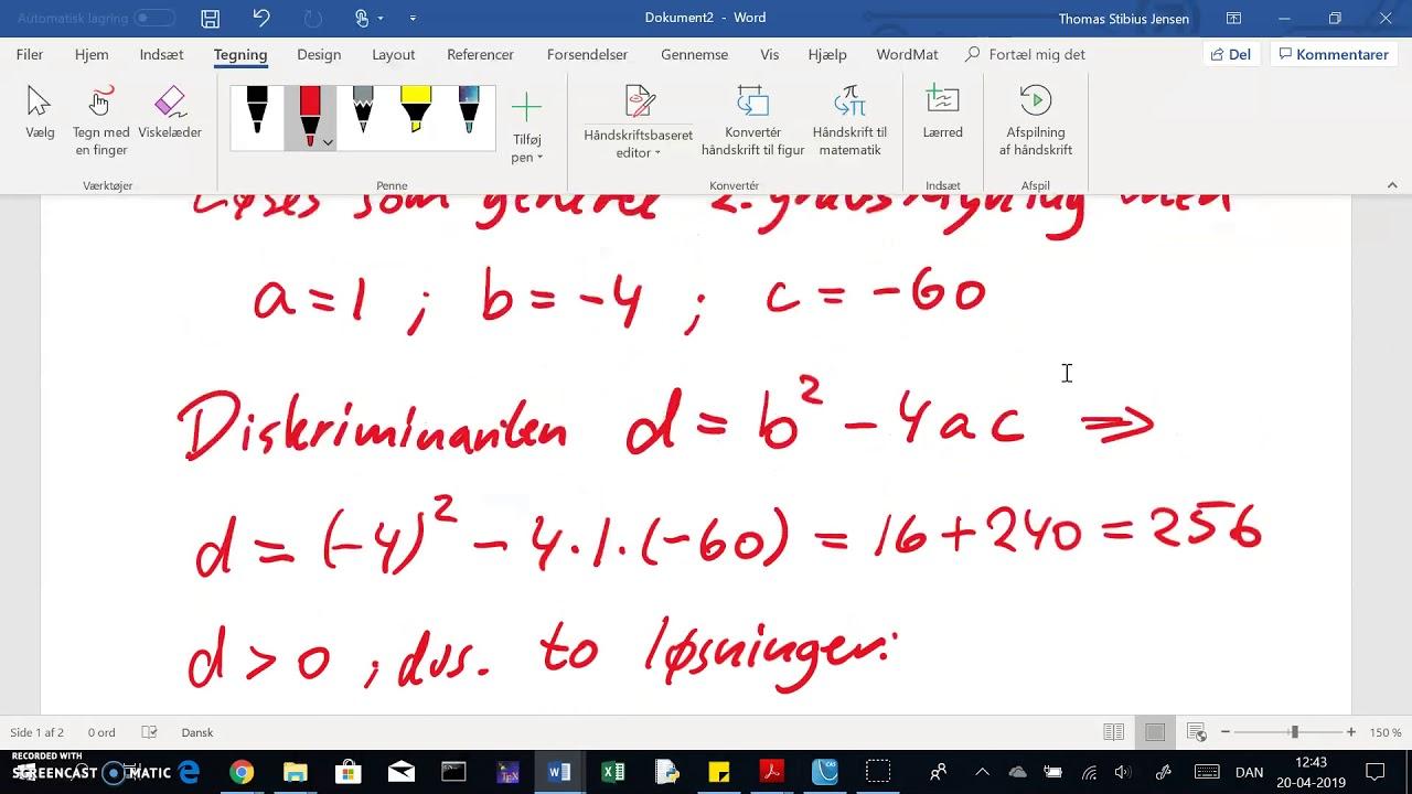 Uden hjælpemidler: 2.grads-ligning