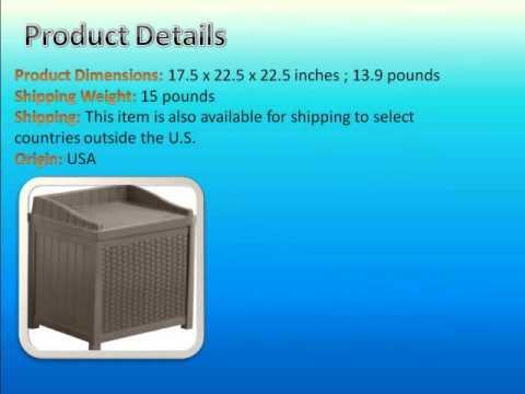 Charmant Suncast SSW1200 Mocha Resin Wicker 22 Gallon Storage Seat