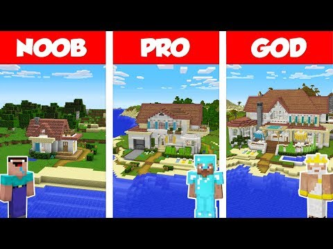 Minecraft NOOB Vs PRO Vs GOD: BEACH HOUSE BUILD CHALLENGE In Minecraft / Animation