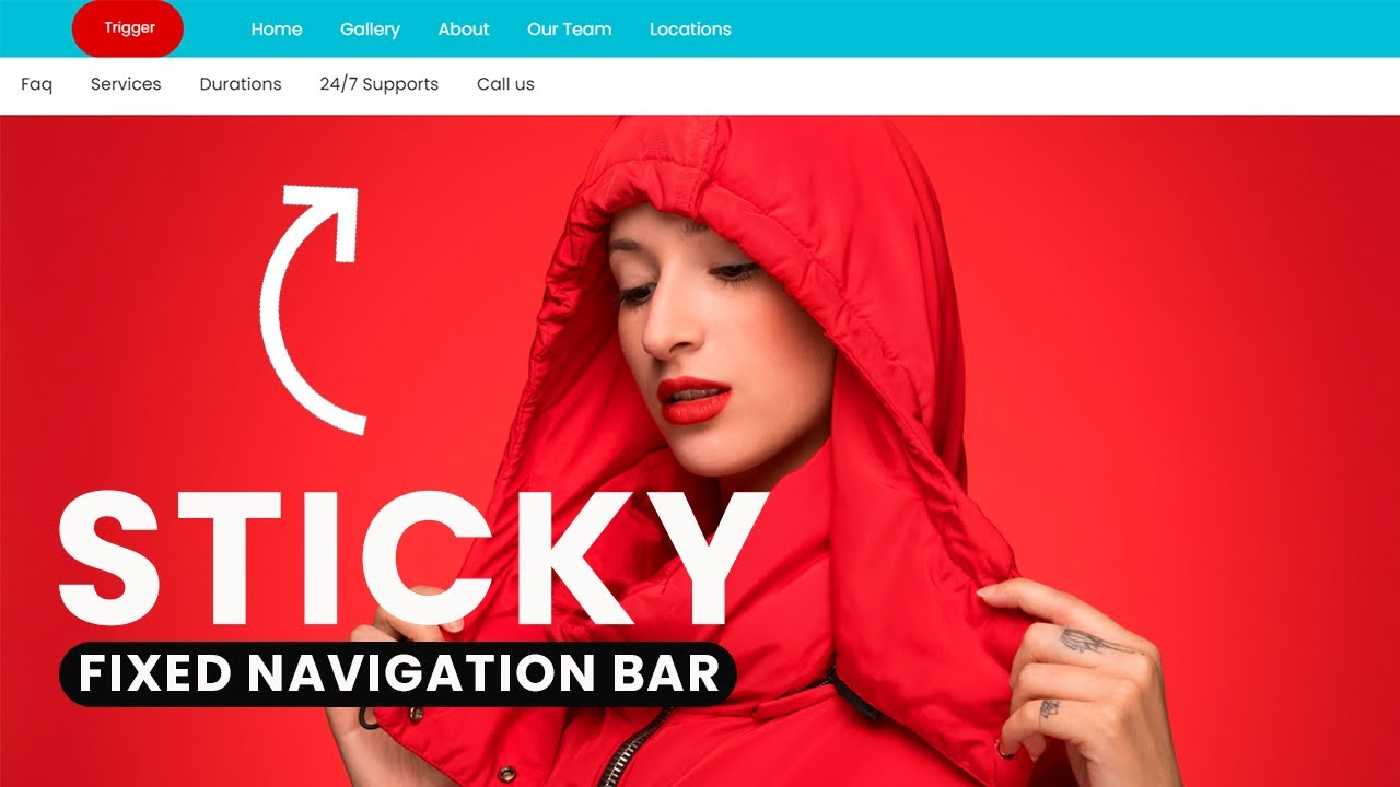 How to make fixed and Sticky Navigation Menu using HTML, CSS