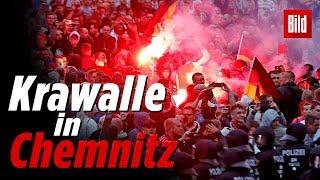 Chemnitz: Aggressive Gruppierungen, viele Verletzte, großes Polizeiaufgebot bei Ausschreitungen