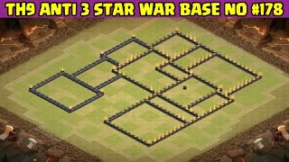 Clash of Clans | Town Hall 9 Anti 3 Star War Base | Layout 178