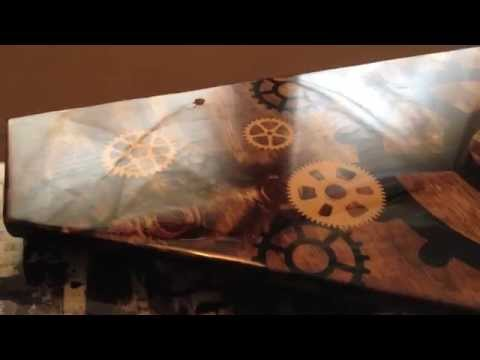 Bathroom renovation with custom glazed wood vanity and vessel sink. How to DIY