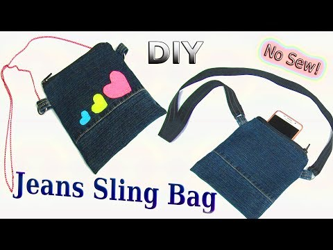 DIY Easy Denim Sling Bag Out Of Old Jeans - How To Make No Sew Pouch, Phone Case From Old Jeans