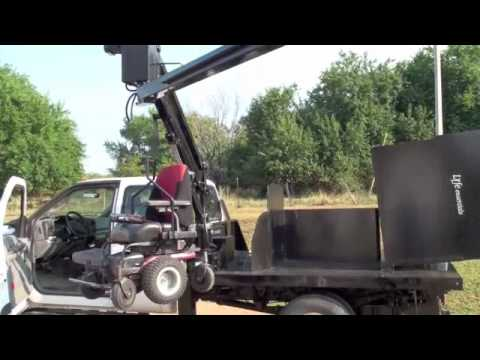 handicap accessible lift on a flat bed truck - youtube