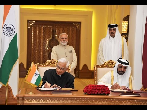 PM Modi & Emir of Qatar witness signing of agreements in Doha (Qatar)