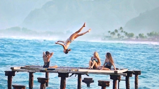 Trampoline Gymnastics On The Ocean Hawaii