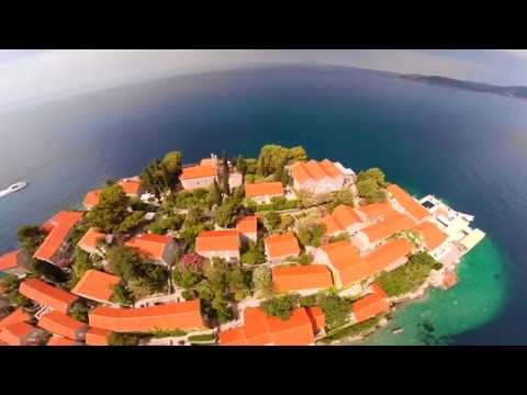 Montenegro Sveti Stefan Air video from a Quadrocopter with naza
