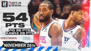 Kawhi Leonard & Paul George Combine For 54 Points Highlights vs Mavericks | November 26, 2019