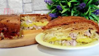 Ленивый курник. Простой рецепт пирога с курицей и картофелем.
