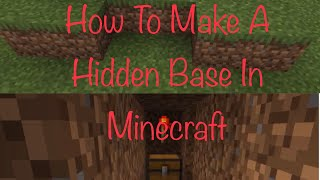 How To Make A Secret Hidden Base For Noobs In Minecraft (super easy)