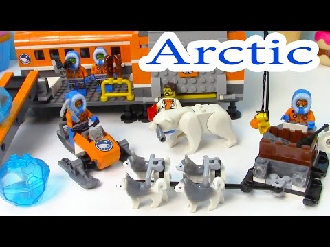 Arctic Base Camp Playset Lego City Snow Ice Crystals Polar Bear Husky Dogs Sled Cookieswirlc